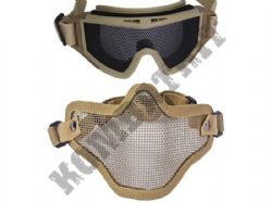 Metal mesh airsoft safety goggles and lower face steel wire mesh mask bundle tan